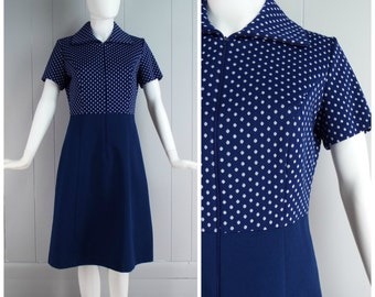 Vintage Womens 1960s / 1970s Parkshire Originals Navy and White Polkadot Dress | Size S/M