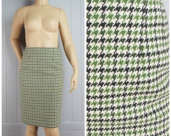 Vintage Womens 1980s / 1990s Green & Off-White Houndstooth Pencil Skirt | Size M