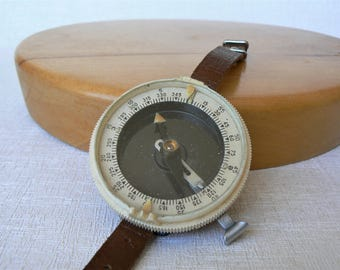 Russian COMPASS Vintage/ Wrist Compass with Leather Strap/ Soviet Time Traveler Accessory/ USSR 1966