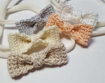 Wee Baby Bow Headband - Crochet Bow - Baby Accessory - Bow Headband