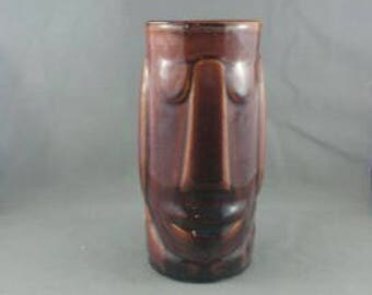 Vintage Tiki Mug - Moai Face by Libbey - Brown Glazed