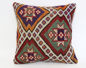 20x20 Needle Embroidered Kilim Pillow Throw Pillow 20x20 Naturel Kilim Pillow Ethnic Pillow Fllor Pillow Cushion Cover SP5050-1428