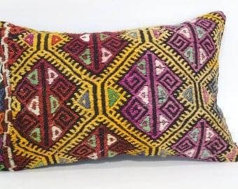 16x24 Bohemian Zigzag Kilim Pillow Throw Pillow 16x24 Decorative Turkish Kilim Pillow Home Decor Handwoven Kilim Cushion Cover SP4060-422