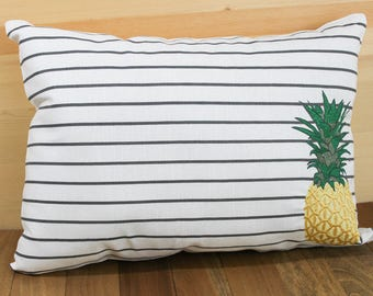 Stripes and Pineapple Throw Pillow