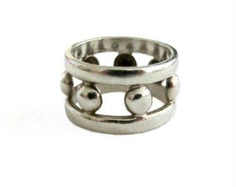 Wide Sterling Silver Band Ring with Openwork  size 7
