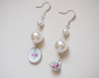 Sterling Silver Crystal Pearls Tea Cup and Saucer Earrings, Pearls and Porcelain Tea Cup Earrings, Hime gyru Earrings, Lolita Earrings