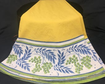 Oval Tablecloth, Yellow Blue, Vintage Tablecloth, Olives and Branches, Bright Yellow, French Style, Homespun Cotton, 1950 - 60's, 32 x 65