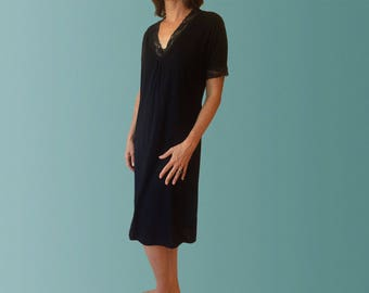 Hayman Winter Organic Cotton Nightgown with Lace - Black