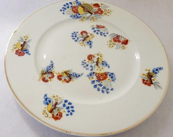 "French vintage Limoges plate, ""PL"" France,  brown,blue, mustard tones"