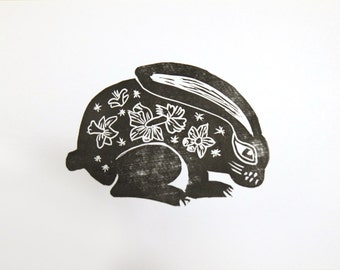 Rabbit with daffodils - linocut, print, original