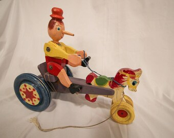 Vintage Pinocchio Cart / Wooden Pull Toy
