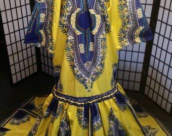 Yellow/Blue African Print Formal Dress