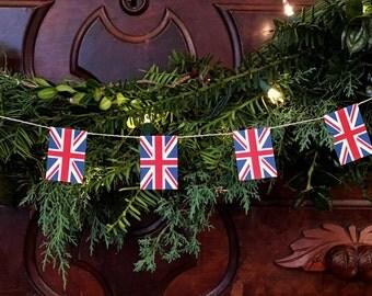 Union Jack Flag Garland- Christmas Decoration- United Kingdom England - Paper - 7 feet
