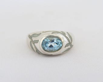Vintage Sterling Silver Blue Enamel Natural Blue Topaz Domed Ring Size 10