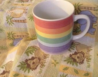 Vintage Rainbow Striped Mug