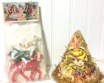 Adorable Vintage Cowboys and Indians Birthday Hat plus Cake Miniatures
