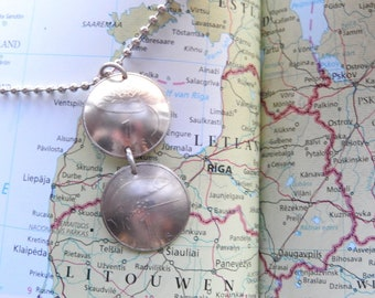 Latvia duo curved coin necklace - made of original coins from Latvia - fish - lotus