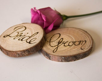 Personalised wedding favour place names, rustic wood customised bespoke wedding place name wedding favours, natural wedding decorations