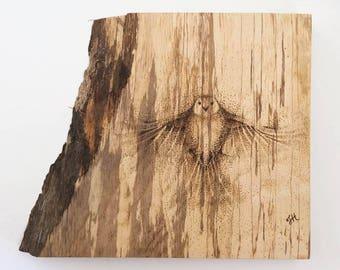 Pyrography art bird, woodburned dotwork feature wall art bird, original signed one of a kind artwork, rustic wood wall art bird