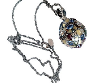 Joan Rivers- Rare Egg Pendant Necklace Contemporary  Design  Shades  Pastel Blue And Purple Crystals  Guilloche Silver-Tone Metal