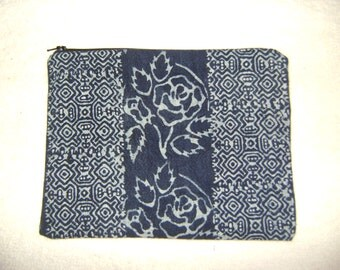Cosmetic Bag/Pouch from Vintage Style Thai Hmong Hilltribe Indigo Handwoven Fabric