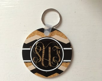 Initial Damask, Moroccan, or Black Gold Glitter Key chain