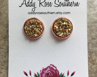12mm gold druzy earrings in rose gold, druzy studs, druzy earrings, rose gold studs, rose gold druzy, rose gold earrings