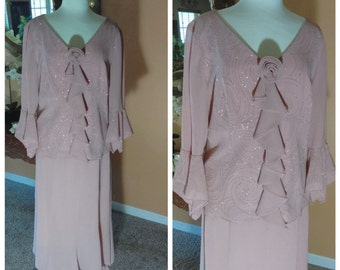 Beautiful Pink Mauve Skirt Set Size 16W by Dana Kay Vintage 90's Mother of the Bride Evening Dress