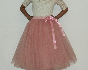 Tulle skirt petticoat dusty rose 70 cm length skirt