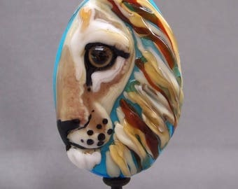 NEW! Lion Focal Lampwork Glass Bead - Big Cat Tile Style Partial View Collection