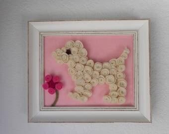 Rolled Flower Artwork - Puppy Flower 8 x 10