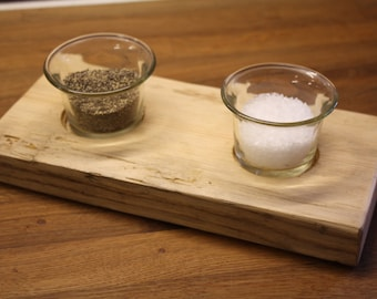 Salt/Pepper or Tealight Holder - glass pots on a reclaimed wooden base