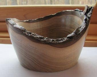 Natural-edge, hand-turned Walnut wooden bowl