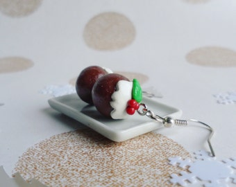 Christmas pudding earrings, polymer clay earrings, christmas earrings, christmas jewellery, food earrings, christmas in july, kawaii earring