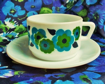 Retro Demi Tasse Cup and Saucer - Lotus  by Arcopal in France - 1970's - Teal blue. green & navy -  used