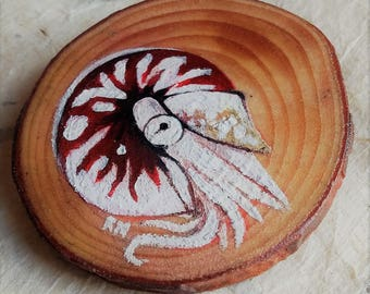 Wooden Nautilus Brooch - Miniature Cephalopod Painting - Wood Slice Art - Nautical Art - Unique Wearable Art