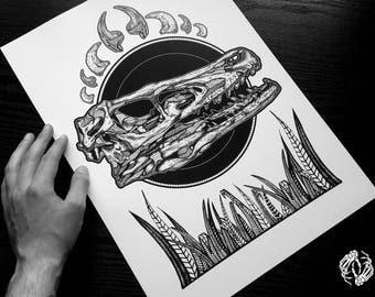 A3 CLEVER GIRL - Art Print - Velociraptor Design Jurassic World Illustration - Dotwork Linework - Dark Art - Tattoo - Blackwork