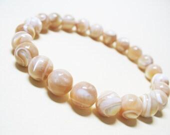 Mother of Pearl Bracelet Nacre Bracelet Calming Bracelet Healing Bracelet Wrist Mala Bracelet Spiritual Bracelet Wedding Jewelry