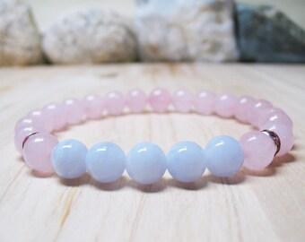 Rose Quartz Bracelet Blue Lace Agate Bracelet Gemstone Bracelet Romantic Bracelet Calming Bracelet Healing Bracelet Inner Peace Wrist Mala