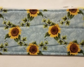 Sunflowers Quilted Zippered Pouch