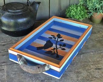 Beachy, Summer Nautical Tray with Grape Vine Handles, Bird on Branch Silhouette
