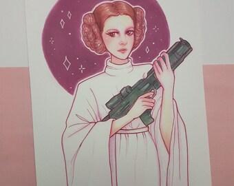 Leia   A5 art print, Princess Leia art print, wall art, star wars fanart, copic drawing, traditional art, sci fi illustration, drawing, girl