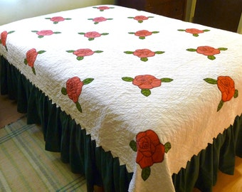 Rose Applique Antique Quilt