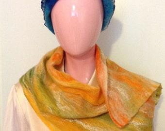Felt scarf, scarf, Shawl, cobweb scarf, felted shawl, shawl collar