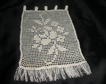 Crochet with wire thin curtains. Beige color. Measures