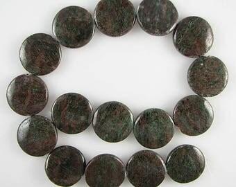 "25mm red green garnet coin disc beads 16"" strand S2 4374"