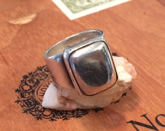 Vintage Sterling ring modernist ring size 8.5 ring Mexican vintage ring
