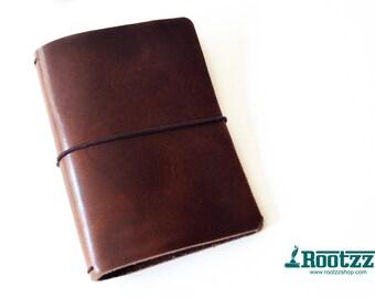 A6 Traveler's notebook red brown leather - midori like- fauxdori