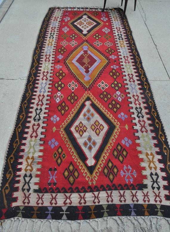Vintage Turkish kilim - 4'6 x 11'3 - 137 x 343 cm. - Free shipping!