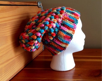 Crochet Slouchy Hat, Multiclored